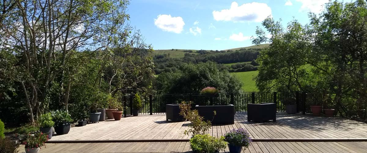 Decked Terrace with stunning Welsh views at Basel Cottage, Llandovery, Carmarthenshre
